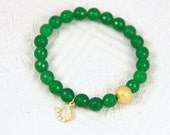 Gold Horseshoe and Emerald -- Free Domestic Shipping