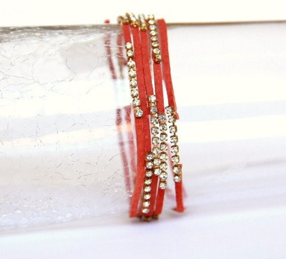 Upcycled Orange Suede & Rhinestone Wrap Bracelet