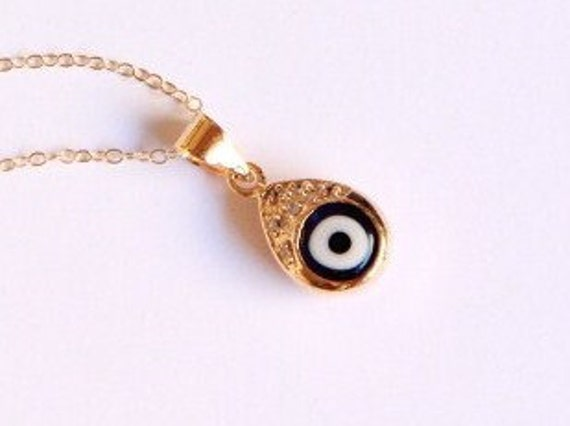Evil Eye Necklace - 18K Gold and White Sapphires