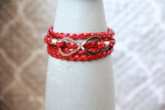 Infinity -- Braided Red Metallic Leather Wrap