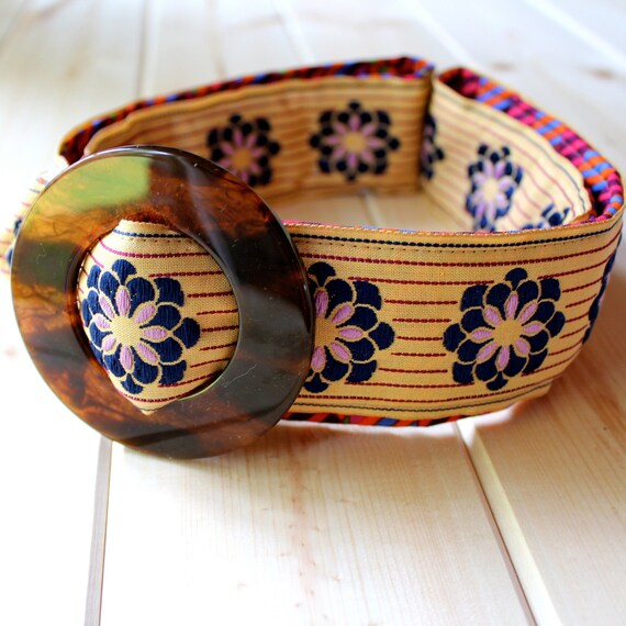 Purple and Navy, Chevron and Daisies Cotton Ribbon and Fabric Belt
