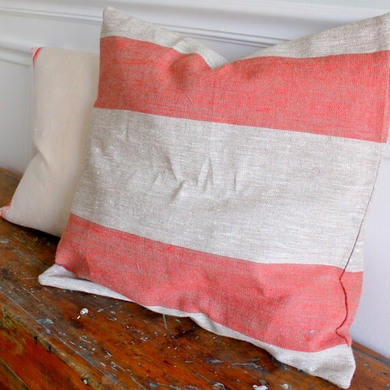 Red Rugby Stripe Linen Pillow Slip Cover