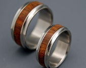 wedding rings, titanium rings, wood rings, mens rings, Titanium Wedding Bands, Eco-Friendly Rings, Wedding Rings - KOA WOOD SET