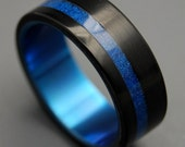 titanium ring, Titanium Resin Wedding Band, Blue Marbled Opalescent, Mens Ring, Womens Ring, Eco-Friendly - TRON