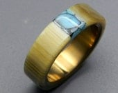 cattlehorn, horn wedding band, turquoise ring, stone ring, men's ring, women's ring, titanium wedding ring, bronze, Arizona turquoise- TAOS