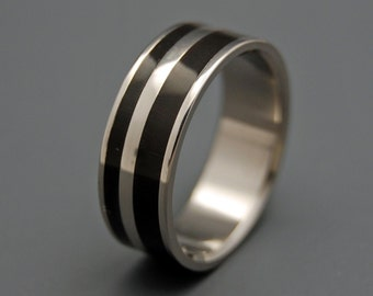 Titanium Wedding Bands, Unique Wedding Rings, Eco-Friendly Rings, Mens Rings, Womens Rings, Water Buffalo Horn Ring - STRONG AND SVELTE