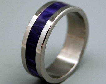 Titanium wedding ring, wedding band, purple ring, men's ring, woman's ring, resin, titanium ring, marble - AFTER THE RAIN