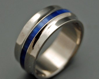 wedding rings, titanium rings, wood rings, mens rings, Titanium Wedding Bands, Eco-Friendly Wedding Rings, Wedding Rings - TRUE BLUE