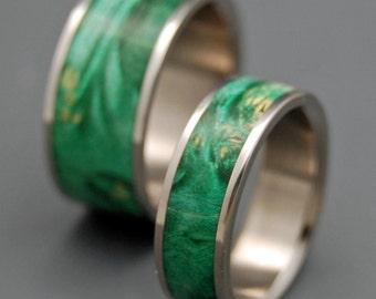Titanium wedding ring, wedding band, wooden ring, men's ring, woman's ring, green, wood, titanium ring, box elder wood - SLAINTE