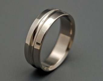 wedding rings, titanium rings, wood rings, mens rings, Titanium Wedding Bands, Eco-Friendly Rings, Wedding Rings - NUDE with a GROOVE