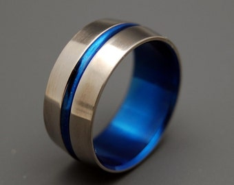 wedding rings, titanium rings, wood rings, mens rings, Titanium Wedding Bands, Eco-Friendly Rings, Wedding Rings - BLUE SIGNATURE RING