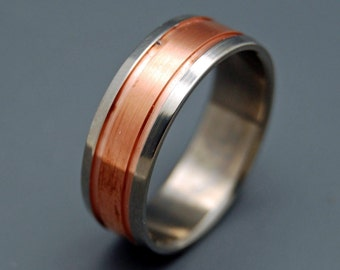 Wedding rings, titanium rings, M3 rings, mens rings, Titanium Wedding Bands, Eco-Friendly Wedding Rings - COPPER MEETS TITANIUM