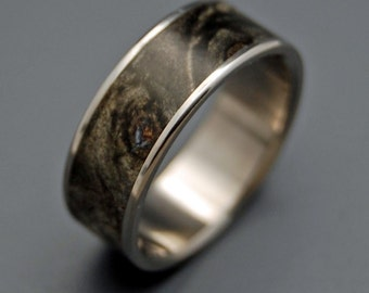 Titanium wedding rings, wooden wedding rings, his ring, her ring,  eco-friendly rings - SWIMMING IN the DARK