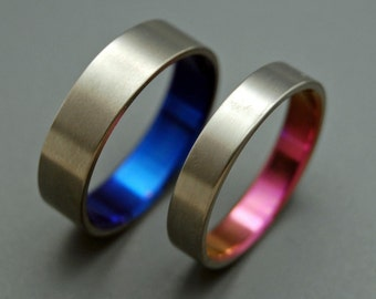Titanium ring, wedding ring, titanium wedding ring, something blue, men's ring, women's ring - SATIN PINK and BLUE
