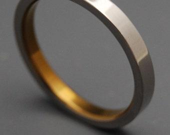 Titanium Wedding ring, Mens Ring, Womens Ring, Anodized Ring, bronze ring, Sandblasted Ring, Eco-Friendly Ring, Unique Rings- SLEEK BRONZE