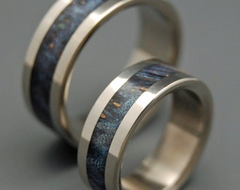 Wooden Wedding Rings, Titanium Wedding Band, wedding rings, titanium ring, men's rings, women's rings, wood ring - in THE DARK of the NIGHT