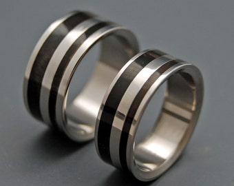 Wooden Wedding Rings, Titanium Wedding Band, wedding rings, titanium rings, wood ring, horn, water buffalo horn - STRONG AND SVELTE