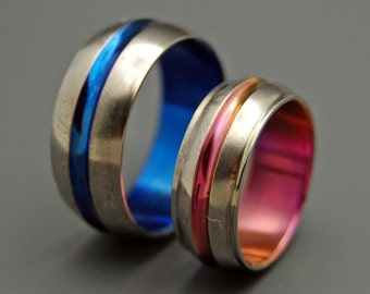 Titanium Wedding Bands, something blue, wedding band, men's ring, woman's ring, titanium ring, pink - AND BOY meets GIRL