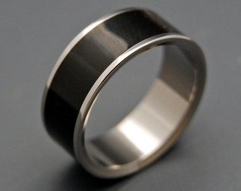 Wooden Wedding Ring, Titanium Wedding Band, wedding rings, titanium rings, men's rings, women's rings, wood rings, black ring - POE