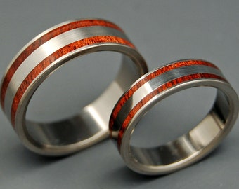 wedding ring, titanium rings, wood rings titanium wedding ring, men's ring, women's ring - MEET YOU in the MIDDLE