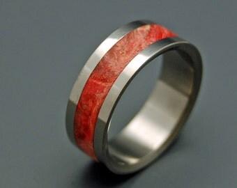 Wooden Wedding Rings, Titanium Wedding Ring, red ring, men's ring, women's ring, maple ring, wedding band, titanium rings - MOLTEN LOVE