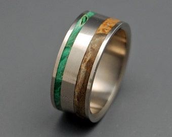 Titanium wedding ring, wedding band, wooden ring, men's ring, woman's ring, green and golden box elder wood, titanium ring - SPRING ETERNAL