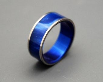 wedding rings, titanium rings, wood rings, mens rings, Titanium Wedding Bands, Eco-Friendly Rings, Wedding Rings - MIDNIGHT
