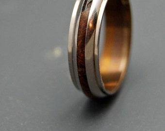 Wooden Wedding Rings, Mens Ring, Titanium Wedding Ring, Womens Ring, Eco-friendly - KE ALOHA