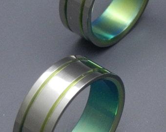 wedding rings, titanium rings, wood rings, mens rings, Titanium Wedding Bands, Eco-Friendly Rings, Wedding Rings - ALMA MATER GREEN