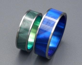 wedding rings, titanium rings, wood rings, mens rings, womens ring, Titanium Wedding Bands, Eco-Friendly Rings - MIDNIGHT and SEA MOSS
