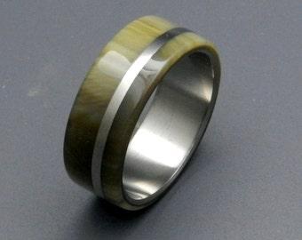 Titanium Wedding Set, cattlehorn ring, titanium wedding ring, titanium jewelry, mens ring, womens ring, unique wedding ring,  - CASH