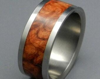 Titanium wedding ring, wedding band, wooden ring, men's ring, woman's ring, Amboyna wood, titanium ring - AMBER ROSE
