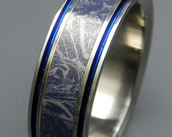 Titanium Wedding Band, Mokume Gane, Mens Ring, Womens Ring, Eco-Friendly, titanium rings - MERLIN