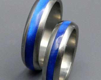 Black Rings Titanium Ring Titanium Resin Wedding Band Blue