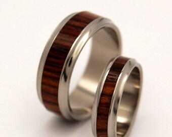 Titanium Wedding Band Set, Light Cocobolo Wood, Eco Friendly Wedding Rings, His Ring, Her Ring - NECESSITY OF DESTINY set