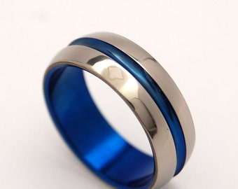 titanium wedding ring, men's ring, women's ring, commitment ring, engagement ring, something blue, titanium jewelry - DOMED BLUE SIG.