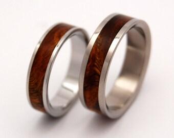 wedding rings, titanium rings, wood rings, mens rings, Titanium Wedding Bands, Eco-Friendly Rings, Wedding Rings - DESERT ROSE