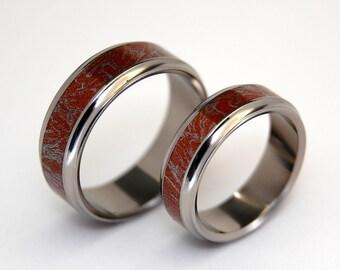 wedding rings, titanium rings, wood rings, mens rings, Titanium Wedding Bands, Eco-Friendly Rings, Wedding Rings - KAZAN