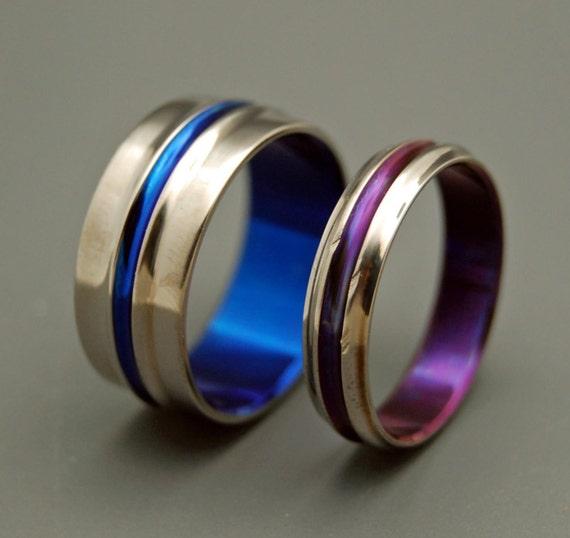 wedding rings, titanium rings, wood rings, mens rings, womens ring, Titanium Wedding Bands, Eco-Friendly Rings - BLUE AND PURPLE