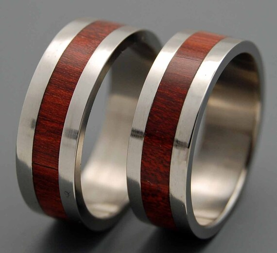 Titanium Wedding Ring, Titanium rings, wedding band, wooden ring, men's ring, woman's ring, blood wood, Unique Wedding Rings - I DO
