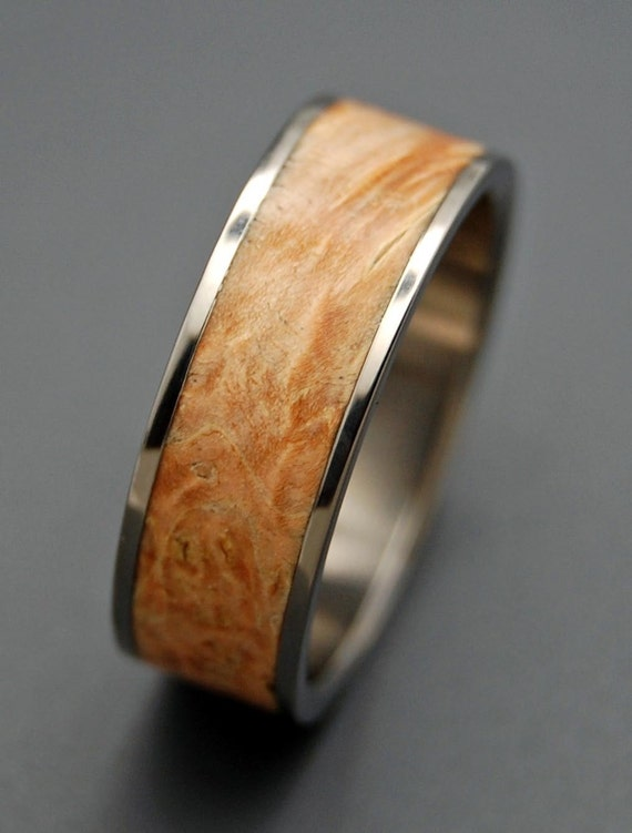 wedding ring, titanium rings, wood rings titanium wedding ring, men's ring, women's ring - OUR DESIRE