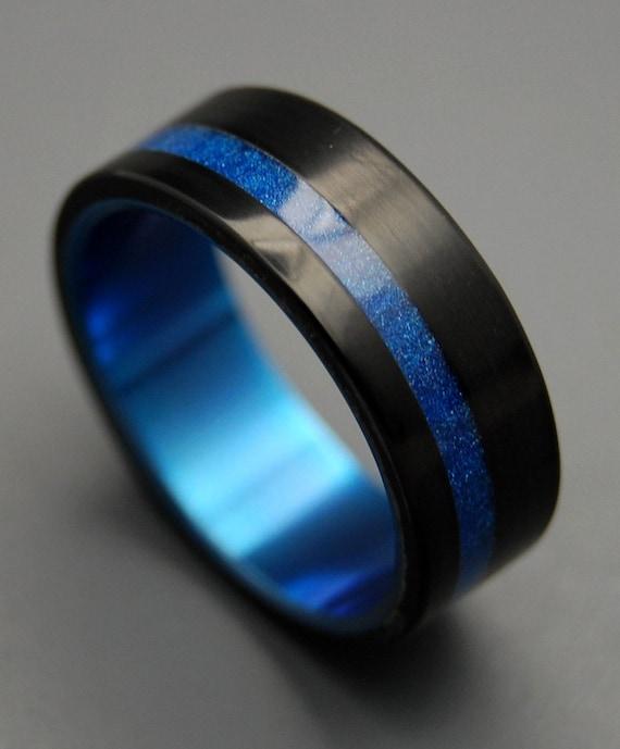 Mens Blue Titanium Wedding Bands Titanium Ring Titanium Resin Wedding