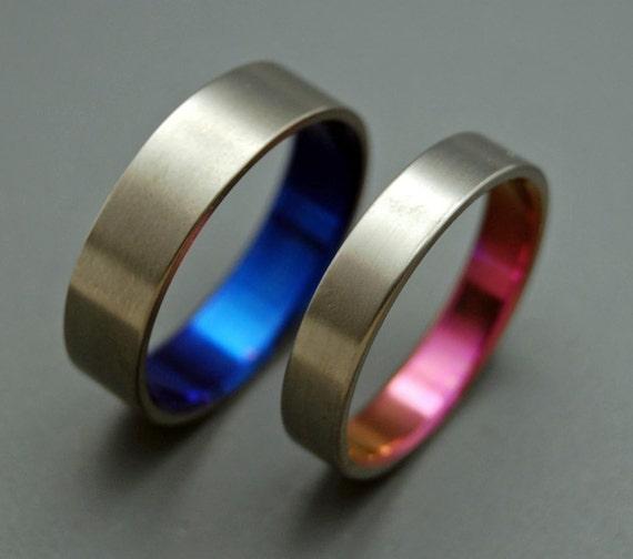Titanium ring, wedding ring, titanium wedding ring, something blue, men's ring, women's ring - SATIN PINK and BLUE