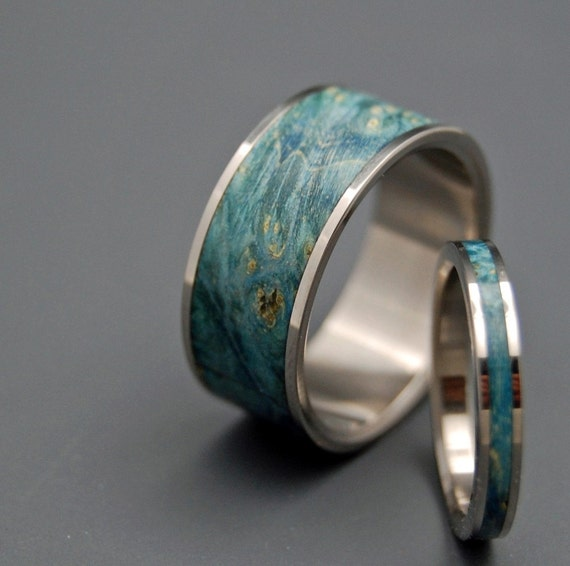 wedding ring, titanium rings, wood rings titanium wedding ring, men's ring, women's ring - SO SIMPLE and BLUE