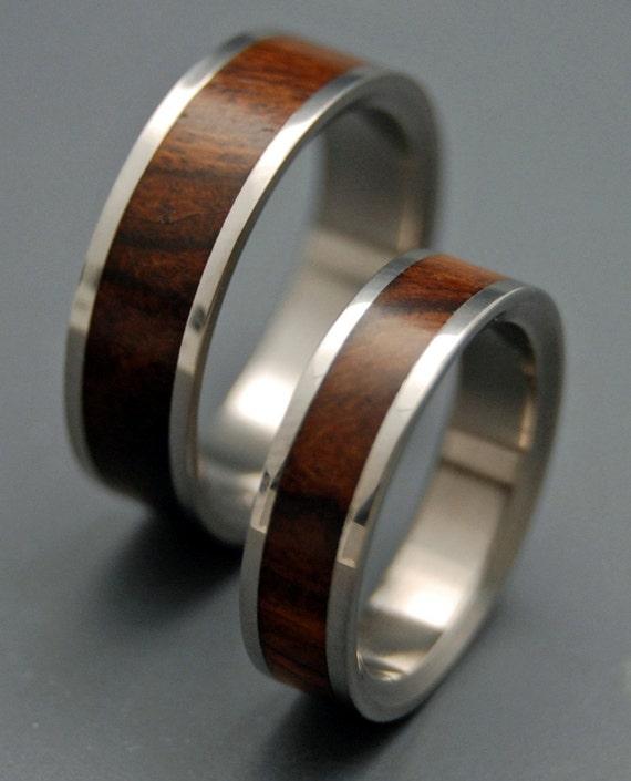 Wooden Wedding Rings, Titanium Wedding Band, wedding rings, titanium rings, men's rings, women's rings, wood rings - DESERT IRONWOOD SET