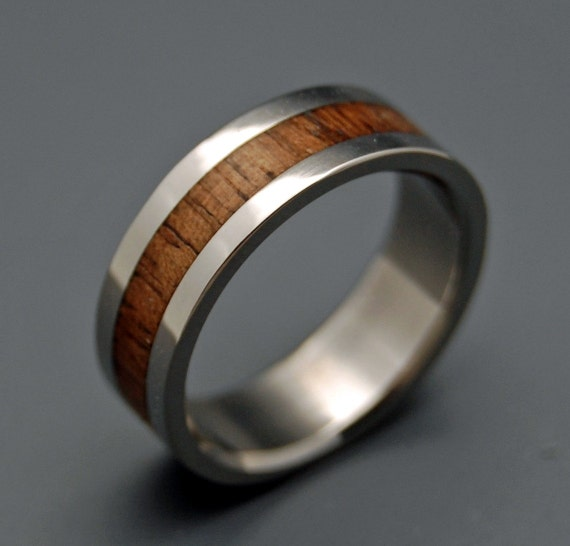 Wooden Wedding Rings, wood rings, titanium wedding rings, titanium rings, koa wood, engagement ring, commitment ring - NALU