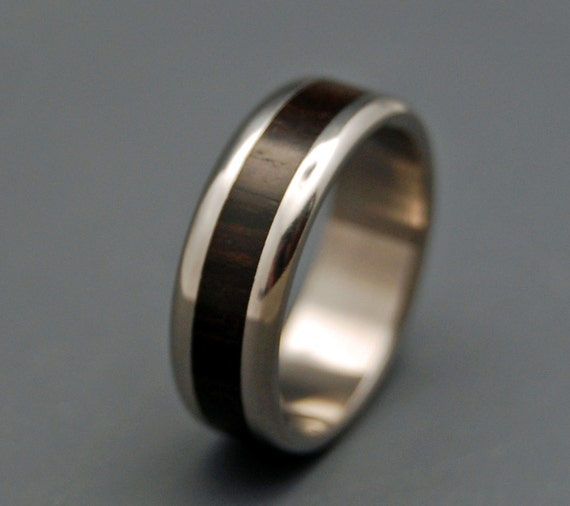 Titanium wedding ring, wedding band, wooden ring, men's ring, woman's ring, ebony wood, titanium ring - MOLUCCAS MACASSAR