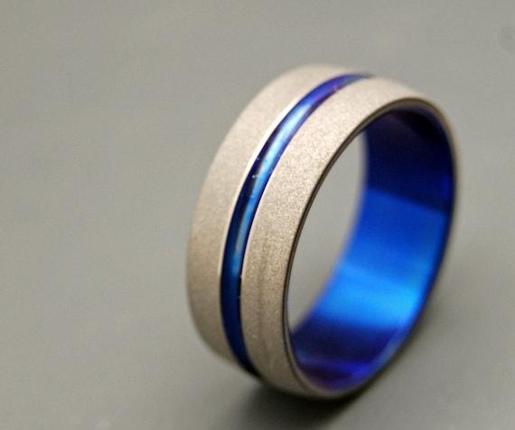 titanium wedding ring, men's ring, women's ring, commitment ring, engagement ring, something blue, wedding band - SANDBLASTED BLUE SIG
