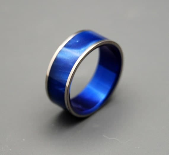 wedding rings, titanium rings, wood rings, mens rings, Titanium Wedding Bands, Eco-Friendly Rings, Wedding Rings - MIDNIGHT