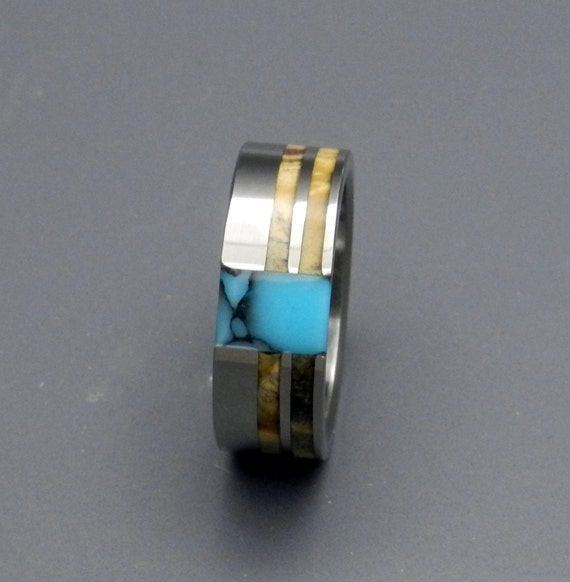 Wooden Wedding Rings, turquoise ring, titanium wedding rings, titanium rings, commitment ring, men's wedding ring, womens ring - CATALYST